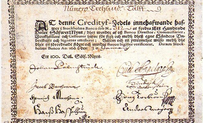 Первые бумажные деньги в Европе